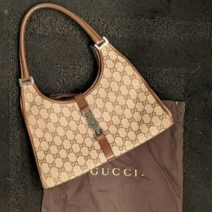 GUCCI Brown Leather GG Monogram Canvas